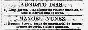 1885 advertisement from Luso O Hawaii
